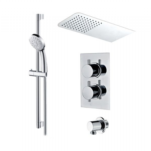 Abacus Emotion Thermostatic Round Concealed Shower Mixer Rectangular Head And Round Handset Chrome